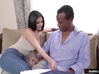 Busty beauty gives head n rides her old black teacher