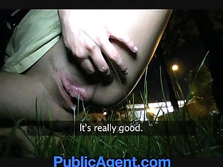PublicAgent Sexy brunette teen loves my charm and money.