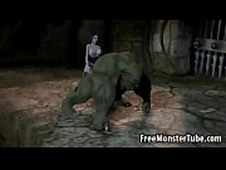 3D orc getting fucked by a babe masturbates with a strap on dildo