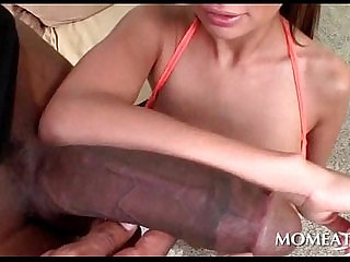 Slutty MILF fucks giant black penis