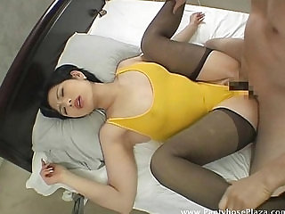 Mistress in leotard and pantyhose moans as shes fucked