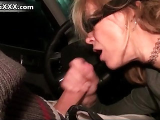 Horny mature sucking dick while