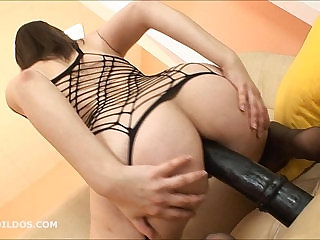 Thick amateur gaping asshole with a big brutal dildo