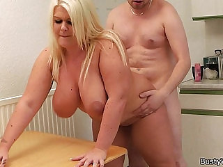 Blonde bbw gets licked and doggy fucked by boss