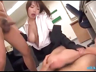 Office Lady In Pantyhose Fingered By Guys Sucking Cocks Giving Footjob O