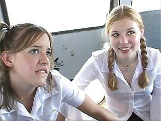 In the schoolbus cute schoolgirl blow and fuck . hd