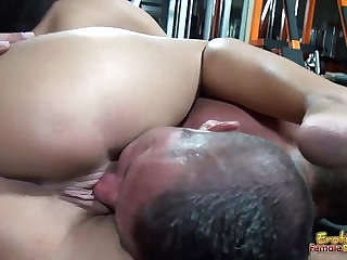 Rounded big tits and erotic lips used for smothering and teasing slave
