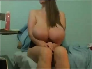 Natural tits on webcam babe