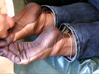 Fully Fashioned Stocking Foot tease and Foot job with cumshot