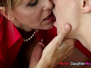 Mom And StepDaughter Giving Teen Blowjob During Appealing