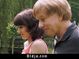 Young Sexy latina Girl Blowjob For Old Man And Swallows