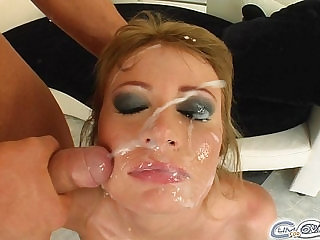 Cum For Cover Teen lez girls face is rained on with tons of sperm