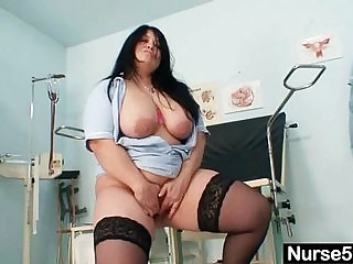 Huge natural tits amateur mom Rosana spreads her fat pussy