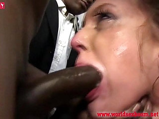 Poor girl sucks members of the crowd of blacks and swallow thewallow their sperm