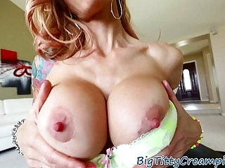 Tattooed milf titfucked in POV