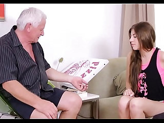 Youthful babe teased by old crock