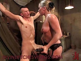 Guy electro tortured and fucked by redhead