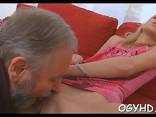 Old dude fucks her young moist pussy