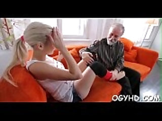 Avid old dude fucks young gal