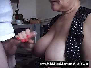 British granny lifts her skirt and lets me fuck her tight panties