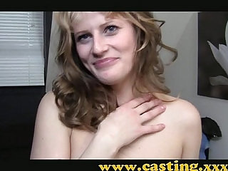 Casting Amateur kooky babe in stockings gets her first taste of porn