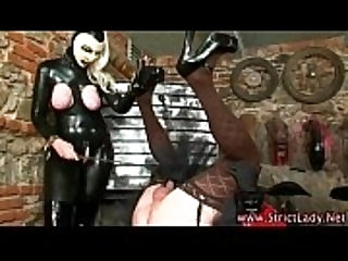Bdsm pathetic latex sissyboy bastard spanked