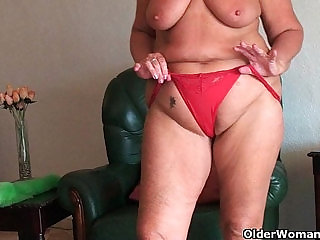 Chubby granny with saggy tits and plump ass spreads pussy