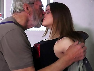 Such an innocent young pussy for an old horny hairy grandpa