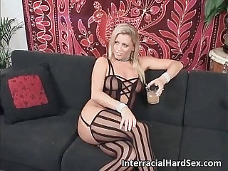 Blonde amateur milf fucked by two black