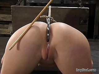 Hogtied Sarah Blake tied up and made cum over and over again