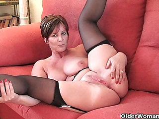 British granny with big tits shows her fuckable body