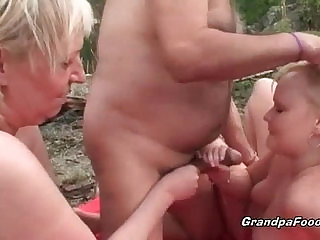 Slutty blonde hottie gets seduced by horny mature couple