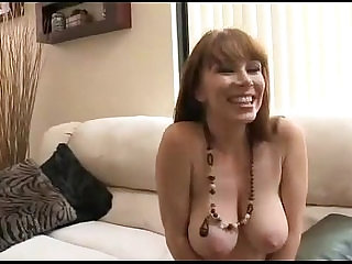 Blue eyes mature housewife with young guy
