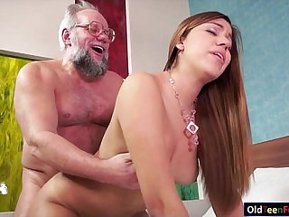Teenie Karla gets an old dick in her mouth and in her pussy