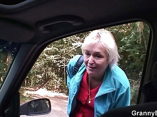 Granny is picked up from the road and fucked