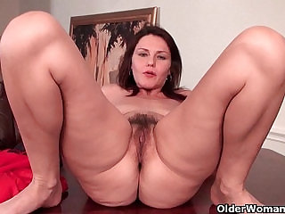 Sexy asian milf with big tits works her hairy pussy