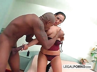 Brunette fucked with a big black cock BMP