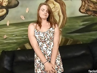 Petite redhead Ariel Stonem pukes on cocks and dpd