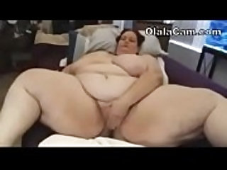 Incredible huge fat BBW webcam solo masturbation Olalacam