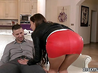 Julie Skyhigh swallows a big, juicy cock before she sits on it.