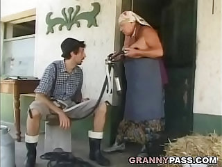 Busty Grandma Gets Stuffed With Young Cock