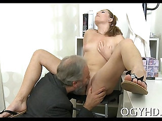 Pretty juvenile gal fucked by old guy