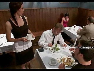 Lady takes off panties in restaurant