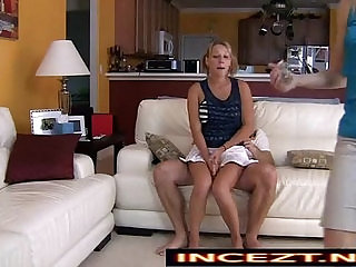 Nikki Mae in sex on couch with Daughter