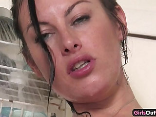 Pierced Australian pussy and ass fucked hard with a toy