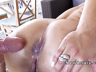 Blonde huge dick up her ass from behind