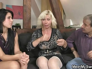 Dirty 3some leisure with sons girlfriend