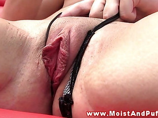 Juicy cherry slut fingering her clit