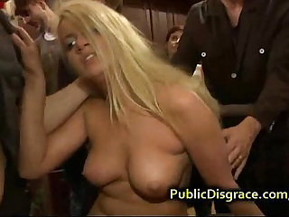 Busty amateur blonde gangbanged at a house party