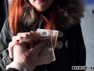 Pretty red haired girl banged and facialed for money